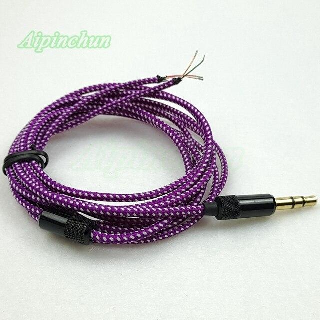 Aipinchun 3.5mm 3 pôles Jack bricolage écouteur câble casque réparation remplacement fil cordon couleur pourpre
