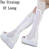 Wedges Chunky Heel Platfprm Lace Black White Summer Women Long Boots Cut Out Knee High Open
