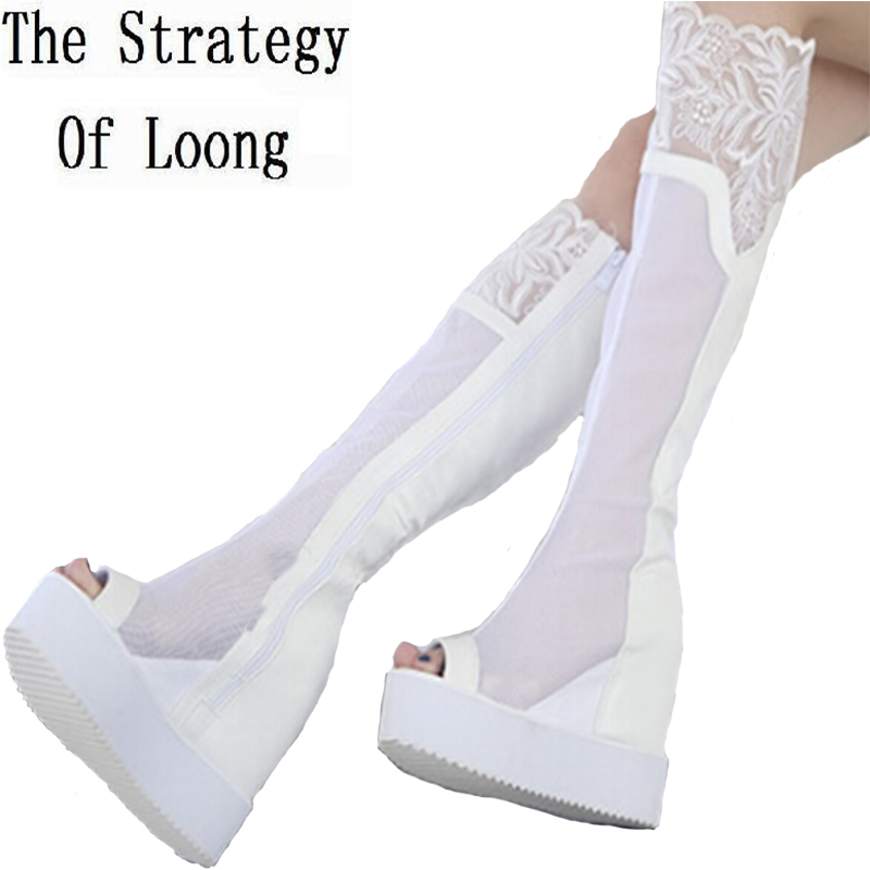 цена на Wedges Chunky Heel Platfprm Lace Black White Summer Women Long Boots Cut Out Knee High Open The Toe Lady Boots 34-39 SXQ0430