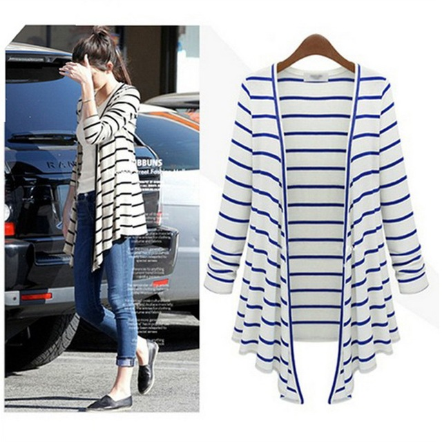 2016 spring summer women casual Cardigans Black white stripe cardigan 100%  cotton modal sweater long 65ada5792