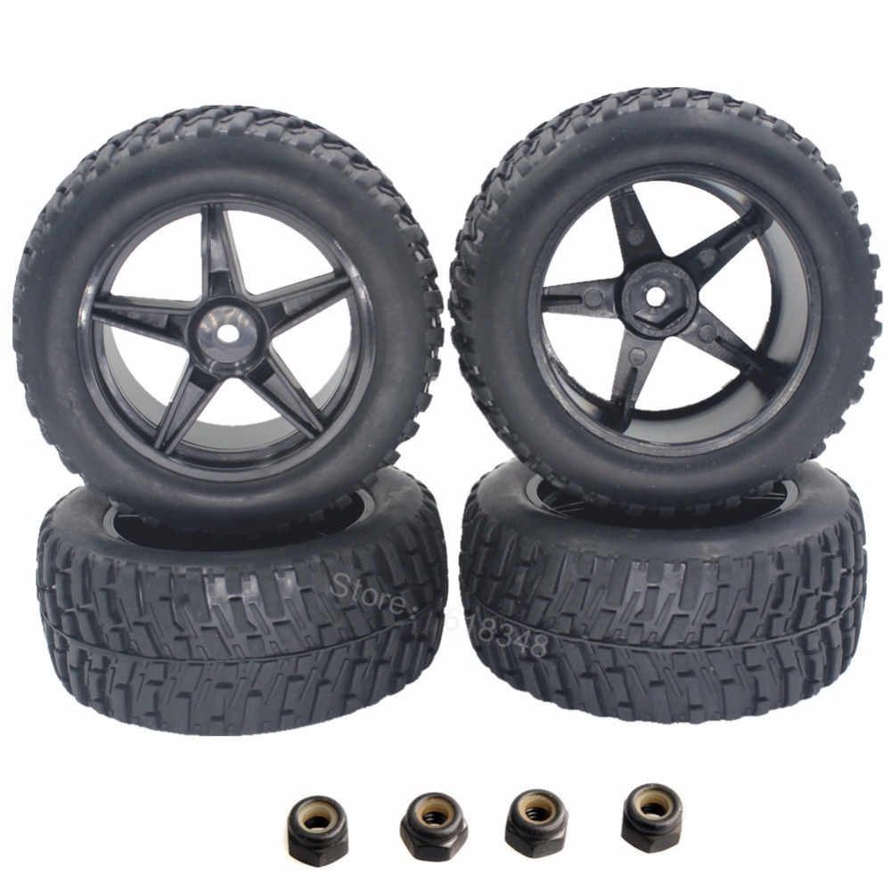 4pcs Rubber 2.2 RC Rally Monster Tires & Wheel Rims 12mm Hub Hex For 1/10 HSP HPI Tamiya Redcat Exceed Off Road Tyre