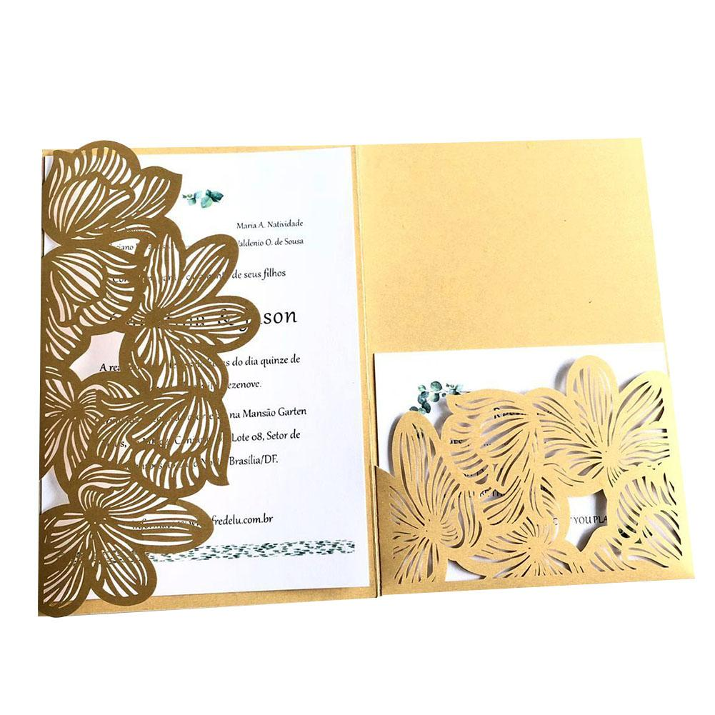 Us 8 58 34 Off 10pcs Hollow Pocket Type Invitation Card High End Business Meeting Invitation Letter Wedding Invitations Card Toffee In Cards