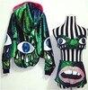 Nightclub Performance Dj Female Singer Ds Show Costume Sparkling Laser Sequins Green Batwing Sleeves Lips Eyes