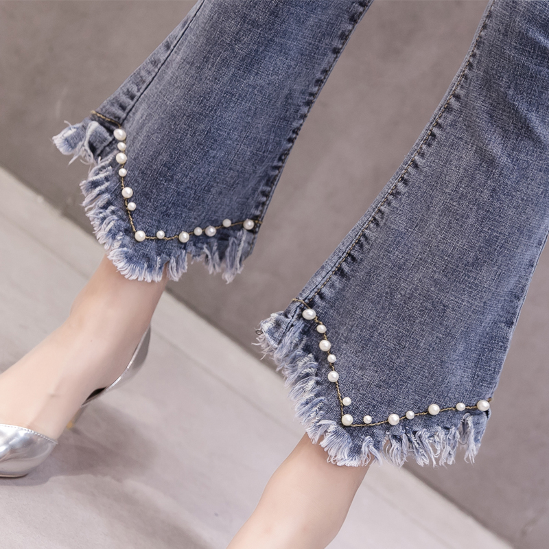 High Waist Women Jeans Flare Pants Tessal Bead Slim Fashion Pants High Waist High Elastic Ankle-Length Denim Trousers 5