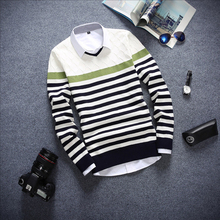 New Autumn Casual Striped Sweater Mens Long-Sleeved Slim V-neck Knitted Sweater Men Knitwear Pullovers Pull Homme Marque