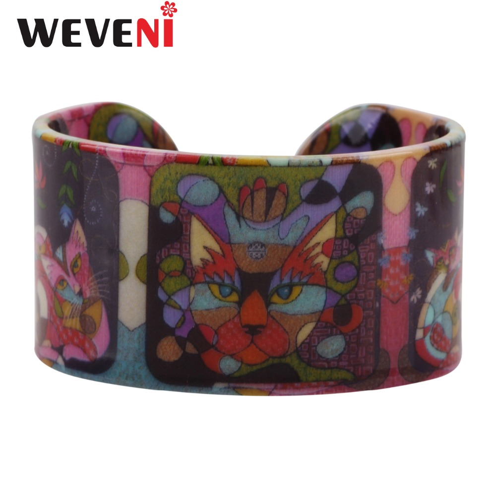 WEVENI Acrylic Unique Cat Kitten Pattern Love Wide Bracelets Bangles Jewelry For Women New Charm Girl Manchette Accessories