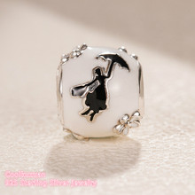 Зимние Оригинальные 925 стерлингового серебра Mary Poppins силуэт Шарм, белые и черные эмалевые Бусины Fit Pandora Подвески Браслет
