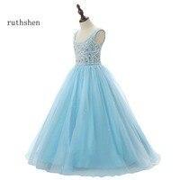 Принцесса Baby Blue Платье в цветочек для девочек для свадеб с жемчугом бисером маленьких детей пол Длина Бальные платья Праздничное платье