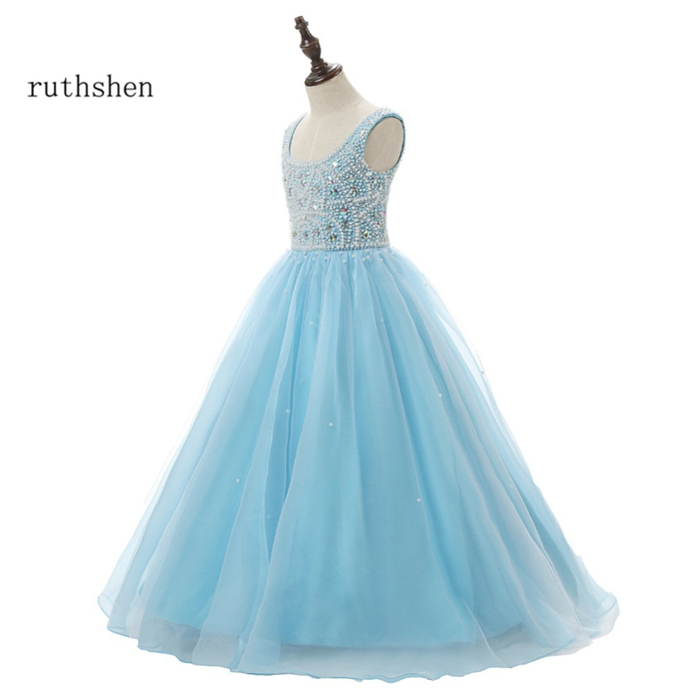 Princess Baby Blue Flower Girls Dresses For Weddings With Pearls Beaded Little Kids Floor Length ...