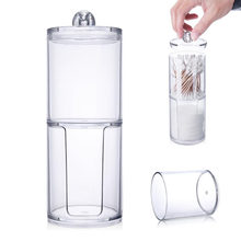 Creative Clear Acrylic Storage Jar Holder Transparent Cotton Swabs Stick Cosmetic Makeup Cotton Pad Jar Makeup Organizer Case(China)