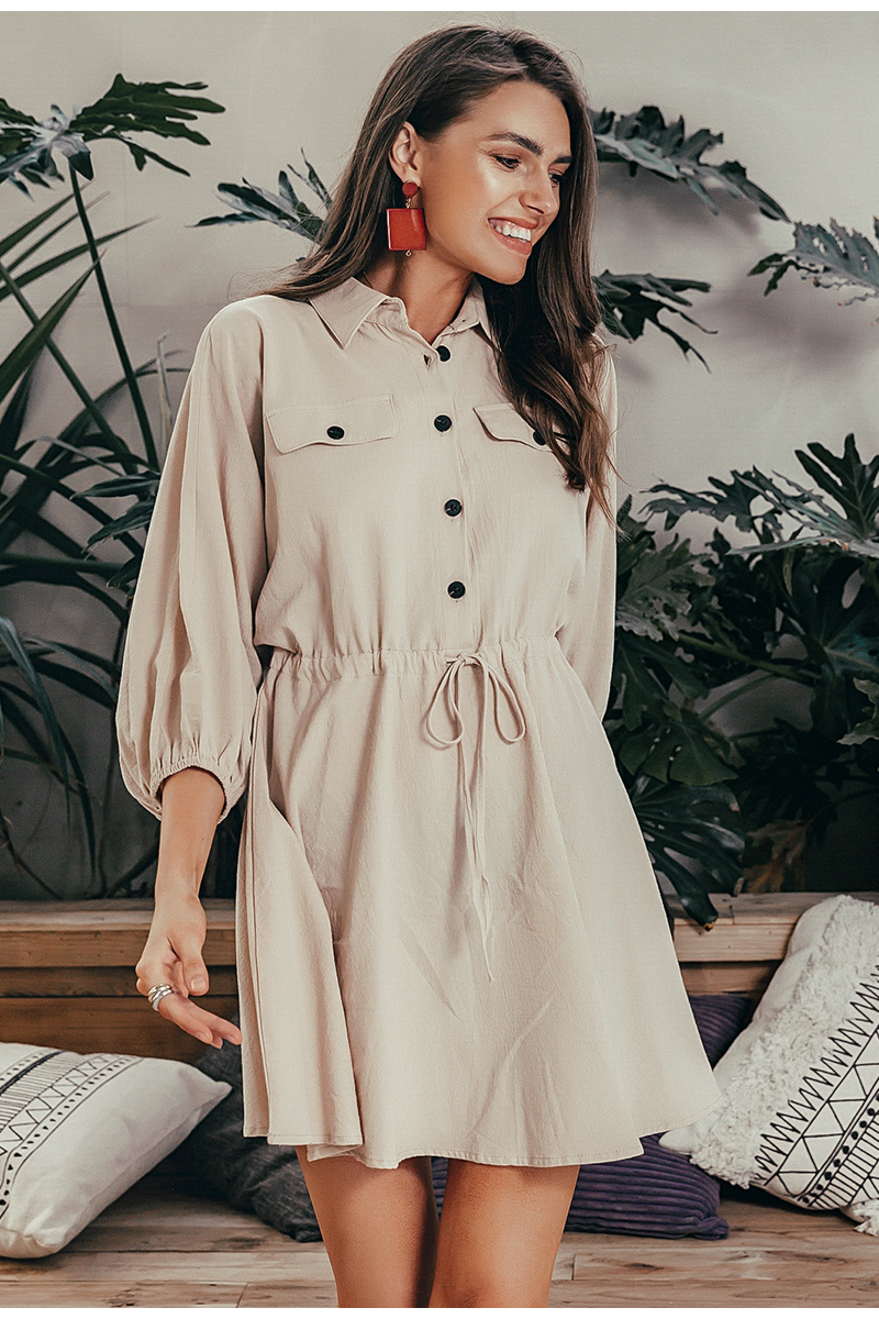 Simplee Elegant linen short shirt dress women Long sleeve cotton dress buttons female vestidos Vintage summer dresses casual 5