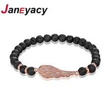 Женский браслет из вулканического камня с бусинами 6 мм 4 цвета