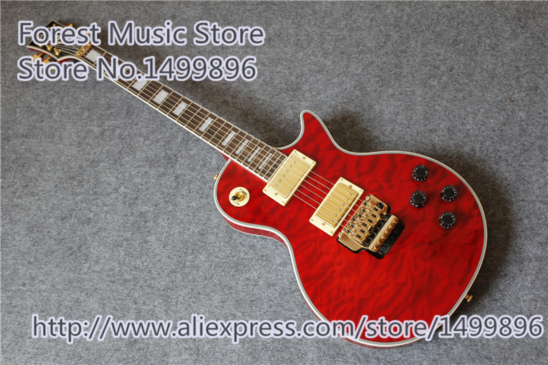 New Arrival Gold Hardware China Red Quilted Finish LP Custom Electric Left Handed Available цены