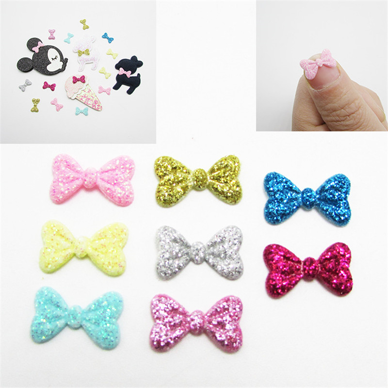 100PCS Glitter Bow Hair Accessories Star Print Bowknot Flower No Hair Clip Boutique Bow DIY Flower Accessory Fashion Headwe