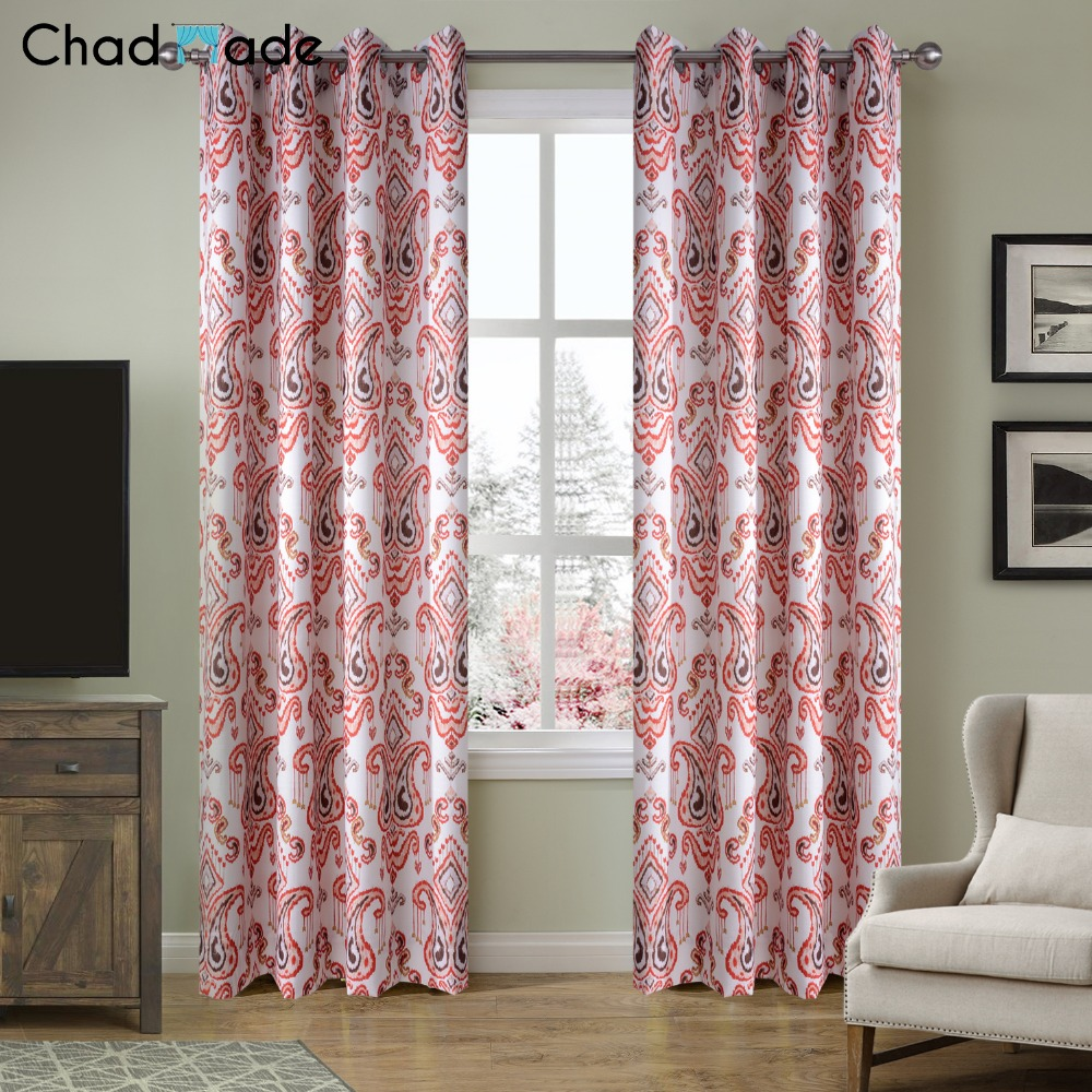 Printed curtains living room - Chadmade Heat Transfer Print Contemporary Paisley Blackout Lined Curtain Panel Drape Nickle Grommet Custom Made Bl8477a