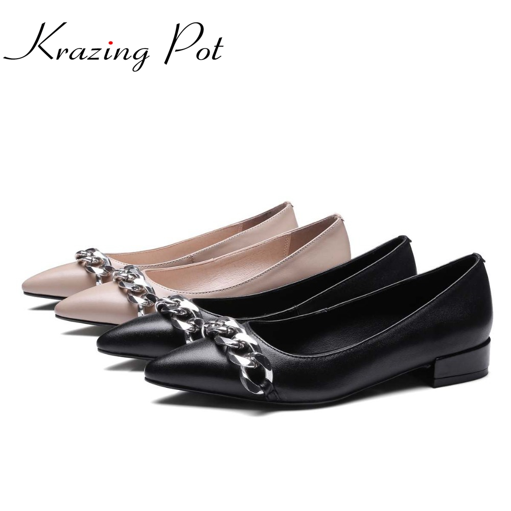 2017 New solid colors cozy shoes gladiator pointed toe genuine leather loafers metal chains women flats office lady shoes L38 new genuine leather superstar solid thick heel zipper gladiator women pumps pointed toe office lady nude runway casual shoes l88