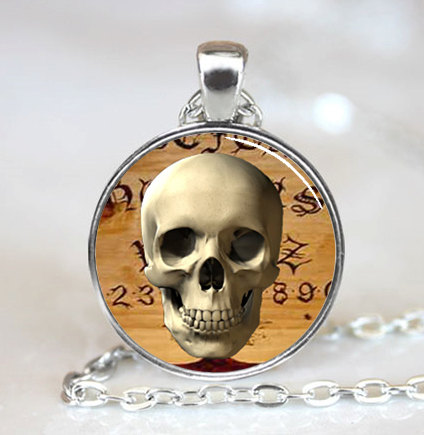 (1 Piece/lot) Halloween Spooky Skull Ouija Board Background Glass Dome Pendant Necklace Sales Of Quality Assurance