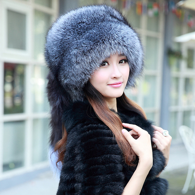 women winter fur cap real fox fur bomber hat with fur tail new fashion Russian ear protector female brand hat winter