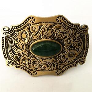 Image 2 - Pure Copper Shiny Vintage Antique Belt Buckle Brass & Jade Western Cowboy Mens Fashion Fine Accessory
