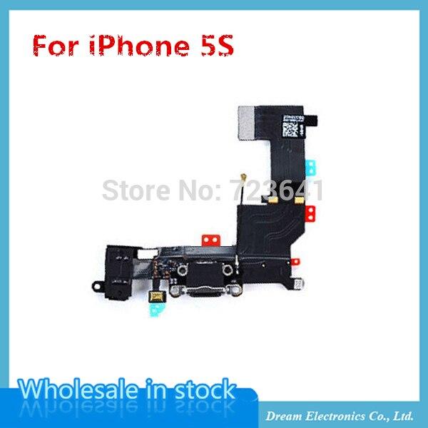 imágenes para MXHOBIC 50 unids/lote auriculares Audio Jack Cargador USB Puerto de Carga Conector Dock cable flexible para el iphone 5S