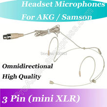 Pro Micwl ( mini XLR 3Pin ) Beige Wireless Headset Microphone for AKG Samson Gemini Beltpack Mic Transmitter