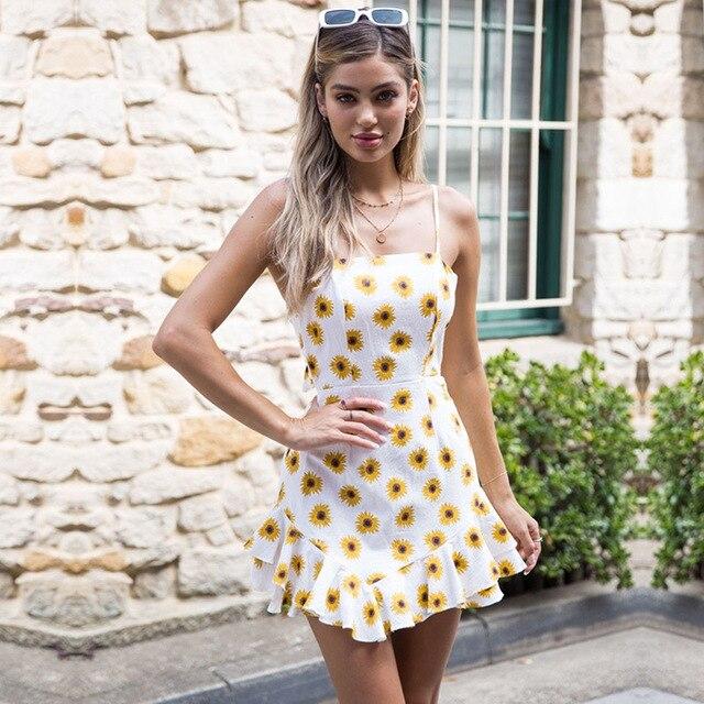 2414ab9e3e6 VITIANA Women Beach Casual Short Floral Print Sundress Female 2018 Summer Sleeveless  Strapless Ruffle Cute Sexy Party Mini Dress