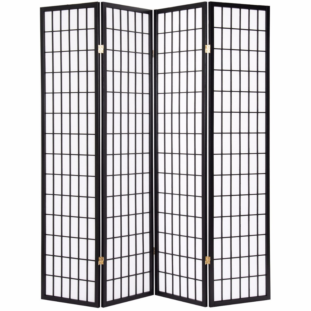 Giantex 4 Panel Room Divider Folding Privacy Shoji Screen Pine Wood ...