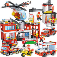 COGO High City trucks, fire fighting marine rescue vehicles, camping cars, assembling blocks 4136