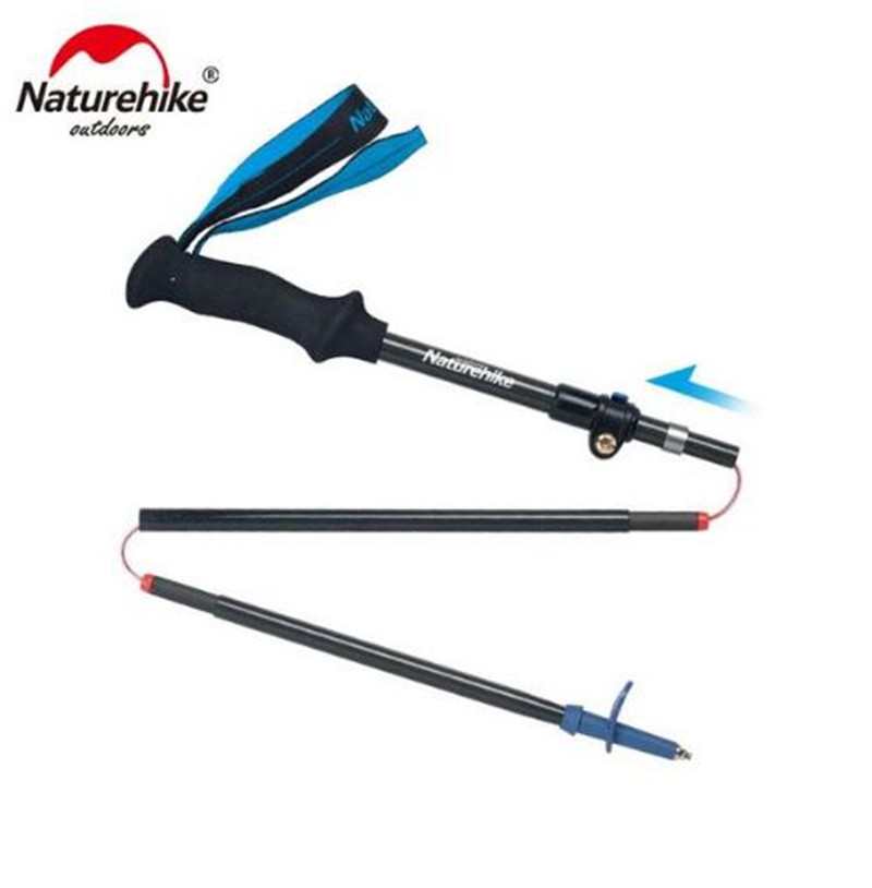 Naturehike 5-sections Pliable Réglable Ultra-Léger Carbone fibre bâtons de randonnée Réglable bâton de randonnée de Course canne