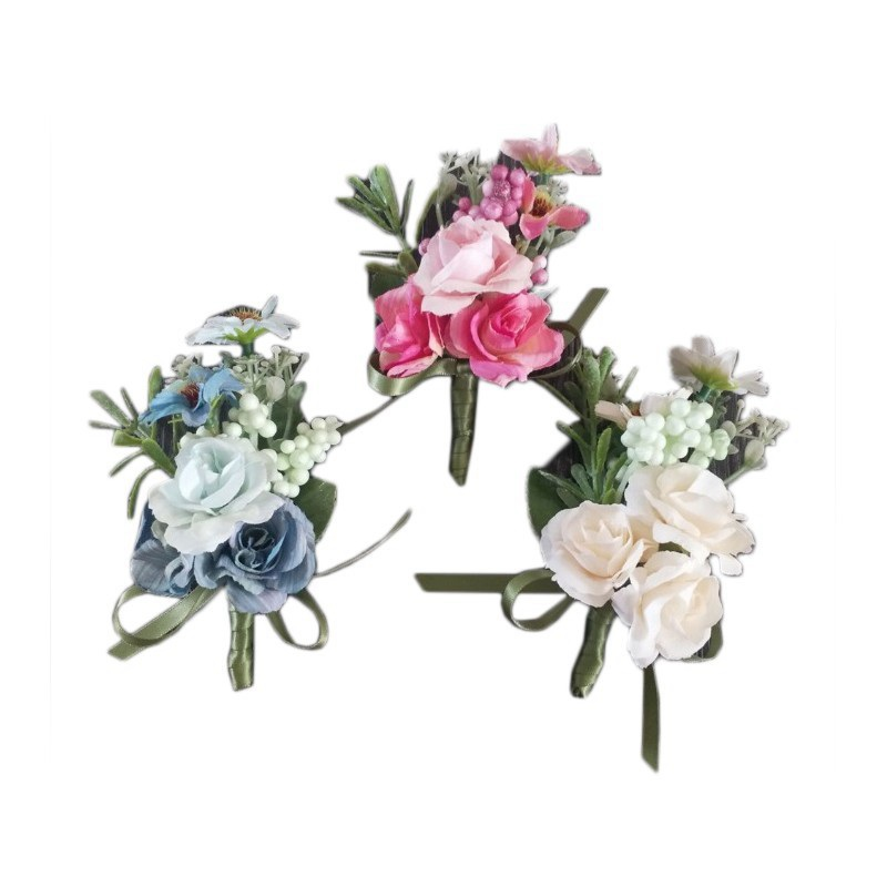 50pcs Wedding Planner Boutonniere White Wrist Corsage Bracelet Bridal Flower Wedding Boutonniere for Guests Mariage Accessories in Artificial Dried Flowers from Home Garden