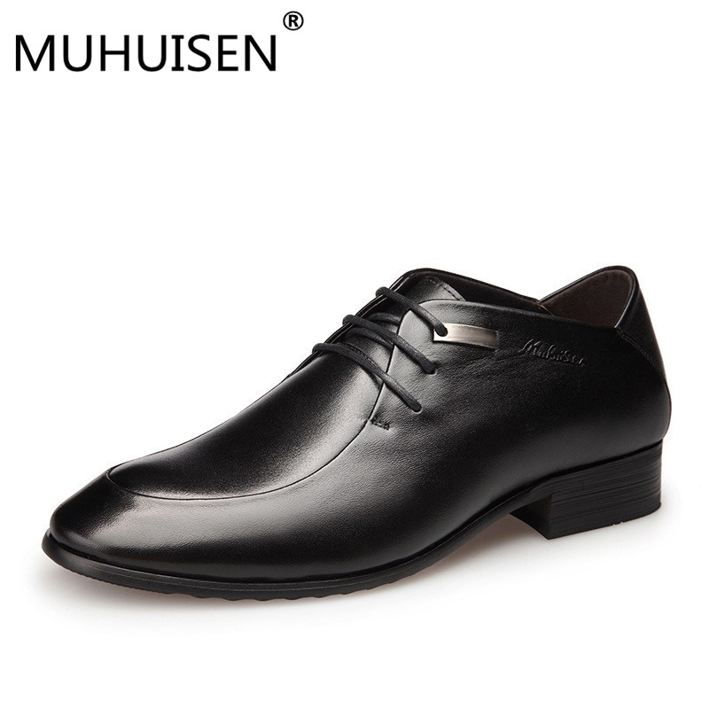 MUHUISEN Men Dress Shoes Genuine Leather Italian Fashion Business Wedding Man Casual Shoes Pointed Toe Oxfords Flats Shoes hot sale mens italian style flat shoes genuine leather handmade men casual flats top quality oxford shoes men leather shoes