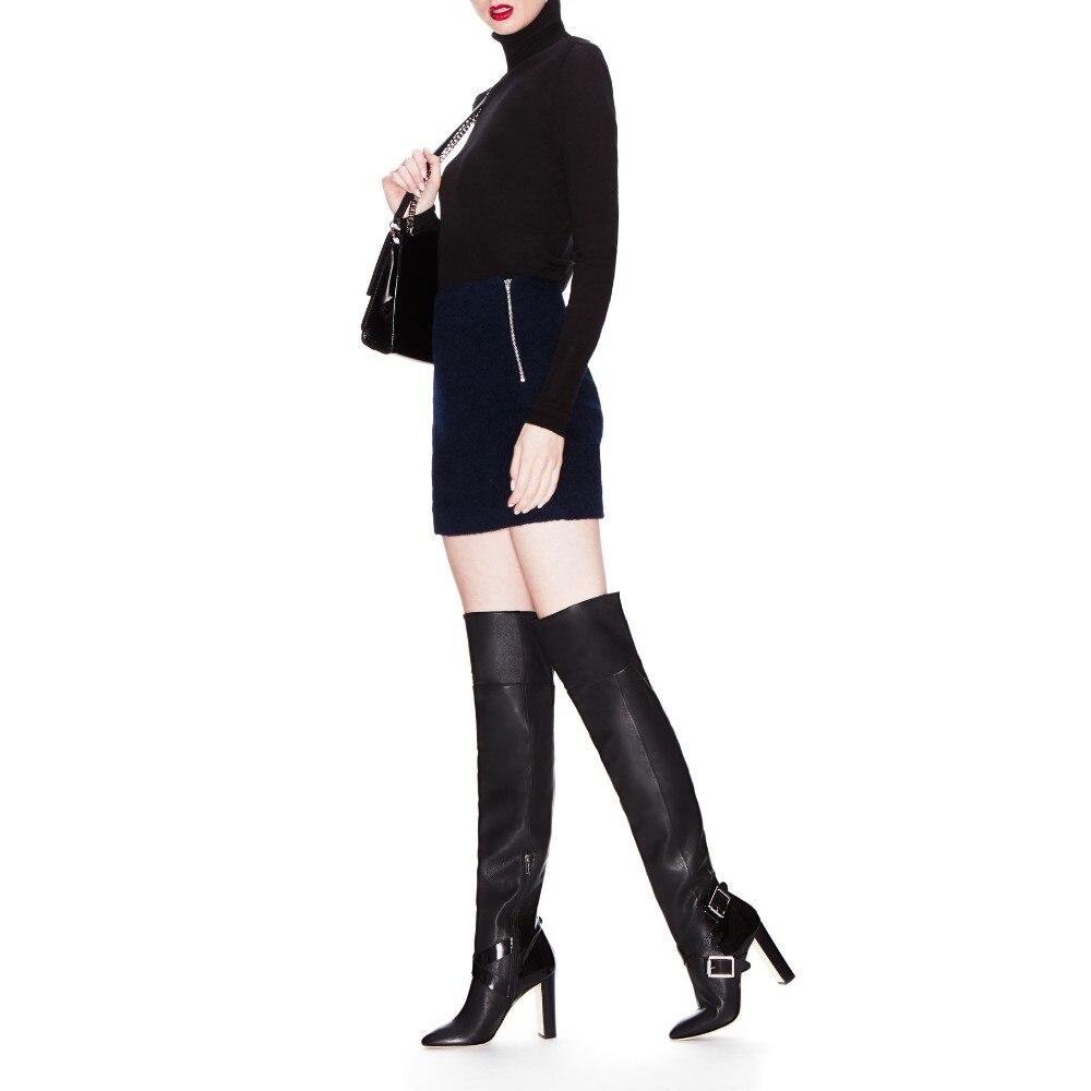 Cuadrado Vaca Ty01 Cremallera Genuino Invierno Cm 12 Sexy Mujer Pointy La Correa Zapatos Cuero Hebilla Sobre De Moda Toe Talón Botas Rodilla Y UCBqYw