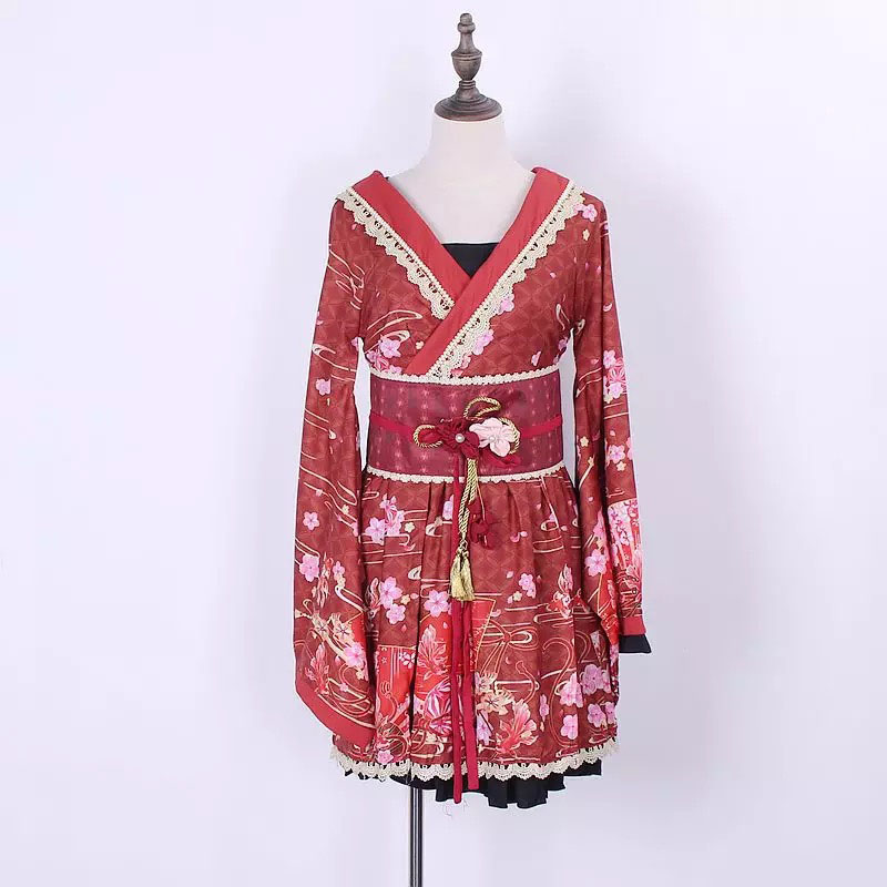 Femmes Lolita douce Op Robe bande Robe Costume Anime Cosplay Claret Floral Anime fête tenue Wrap taille broderie Robe pour dame