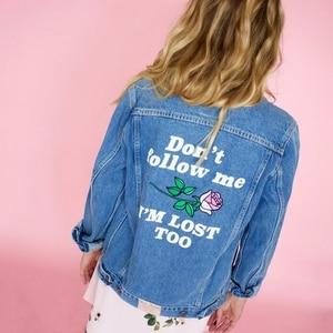 Image 1 - נשים בסיסי מעילי סתיו ג ינס מעיל בציר רקמה ארוך שרוול רופף בתוספת גודל 5XL ג ינס מעיל החורף מקרית בנות להאריך ימים יותר