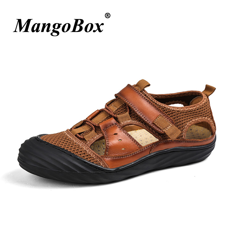 Men Summer Breathable Shoes Cowhide Sandals For Men Brown Khaki Walking Beach Shoes Luxury Brand Men Trekking Sandals Outdoor