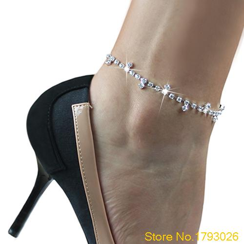 Sexy Clear Rhinestone Anklet Foot Sandal Beach Wedding font b Jewelry b font Office Ladies Ankle