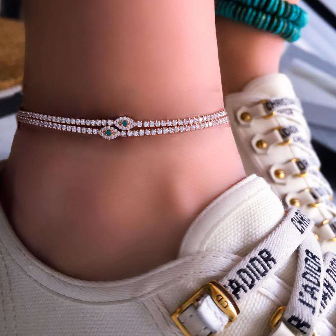 2 Pcs/ Set Fashion Evil Eye Crystal Anklet Link Rhinestone Gem Gold Anklet Set Women Boho Barefoot Sandal Bridal Beach Jewelry