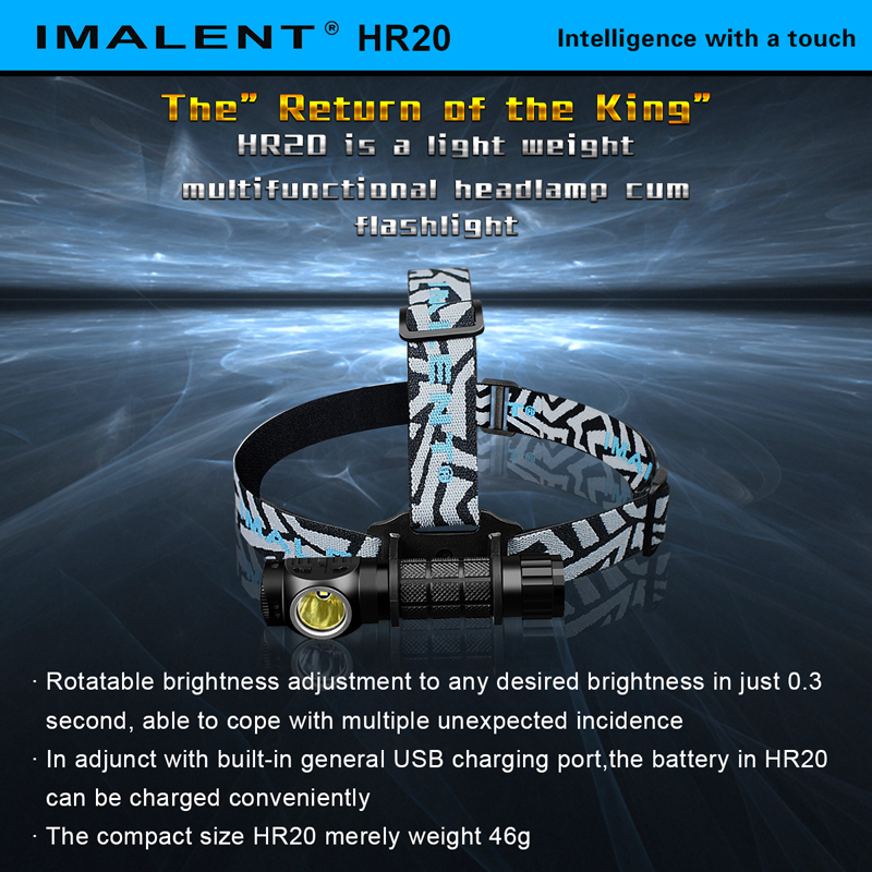 Hot Selling IMALENT HR20 CREE XP-L HI LED 1000 Lumens Lightweight and Compact Versatile USB Rechargeable Headlamp cum Flashlight fenix hp25r 1000 lumen headlamp rechargeable led flashlight