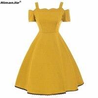 HimanJie Vintage 50s Dress Solid Floral Print Retro Off Shoulder Summer Rockabilly Spaghetti Strap Party Elegant