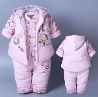 3 Pcs 2016 Baby Kids Fall Winter Clothing Set Newborn Thick Cotton Padded Clothes Boys Girls