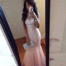 Robe de soiree Luxus Strass Perlen Mermaid Prom Kleider Oansatz Kristall Tüll Lange Formale Abendkleid Arabischen Frauen Kleid
