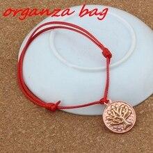 2PCS/lots life Tree Pendant Adjustable kabbalah Korea Waxed Cotton Cord Bracelets 2 color B-275