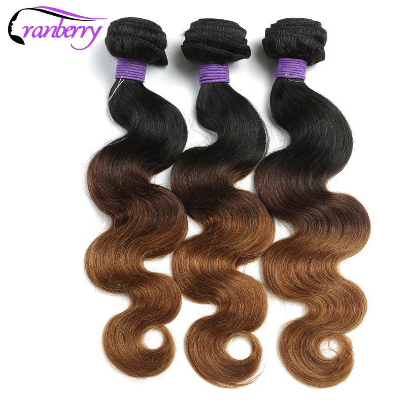 Cranberry Hair Ombre Body Wave Bundles 3 Tone Brazilian Hair Weave Bundles 100% Ombre Human Hair Bundles Non Remy Hair Extension