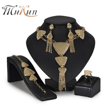 MuKun Exquisite Dubai Gold Color Jewelry Set Wholesale statement jewelry set Fashion African Beads for Women costume