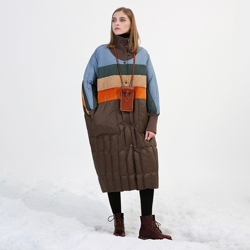 Winter fashion brand good quality over the knee longer duck   down     coat   female hit color knit stitching warm   down     coats   wq530