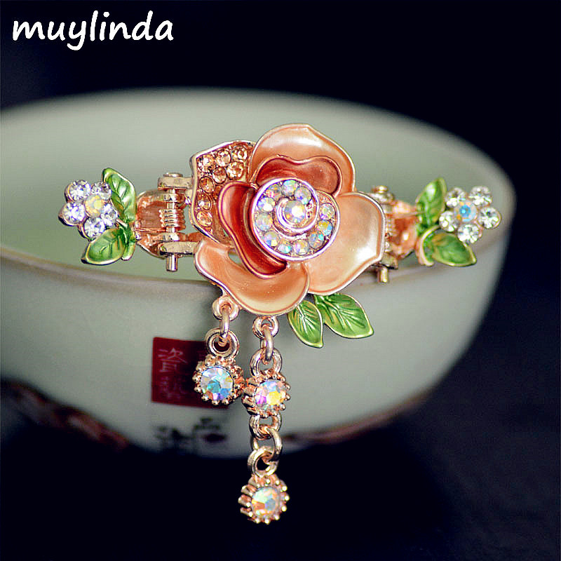 Muylinda Vintage fleur pince à cheveux strass charme Rose pince à - Bijoux fantaisie - Photo 1