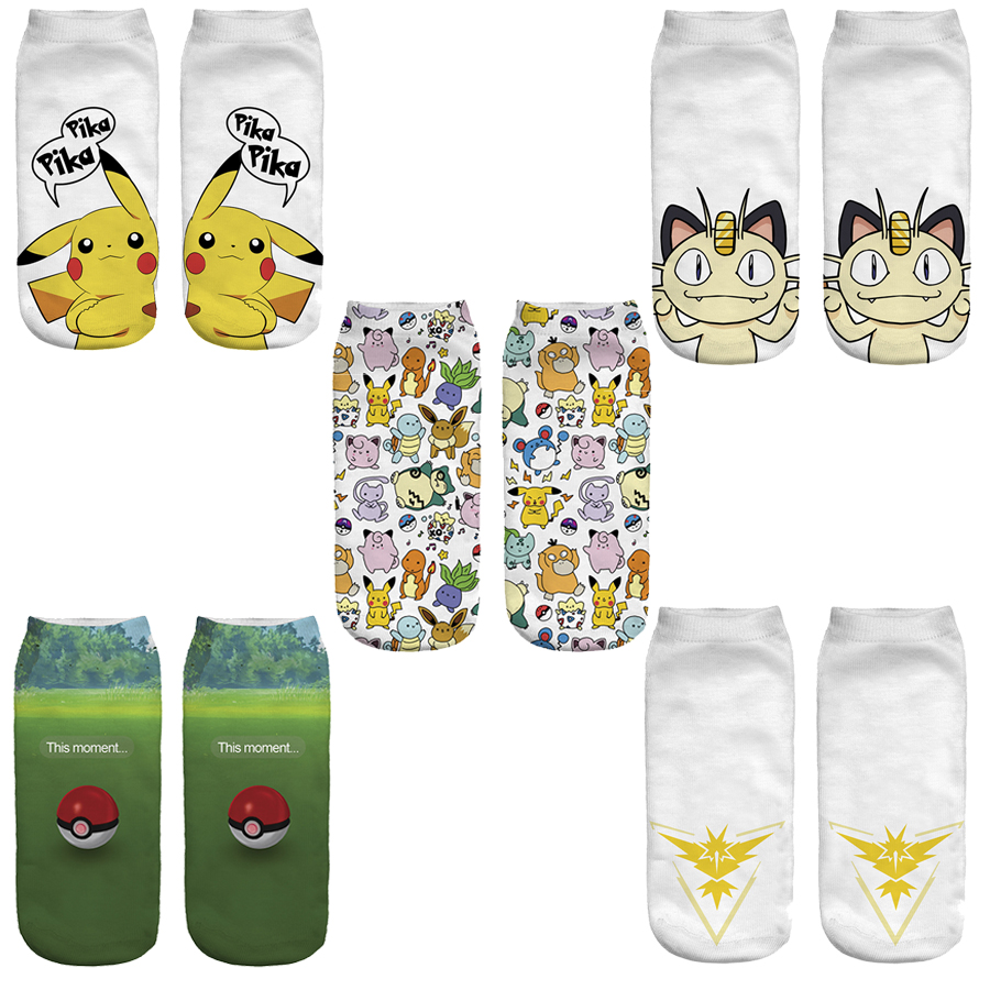 New Arrival Cute Cartoon Anime 3D Printed Women Socks Pokemon Pikachu Ankle Socks Kawaii Cat Socks