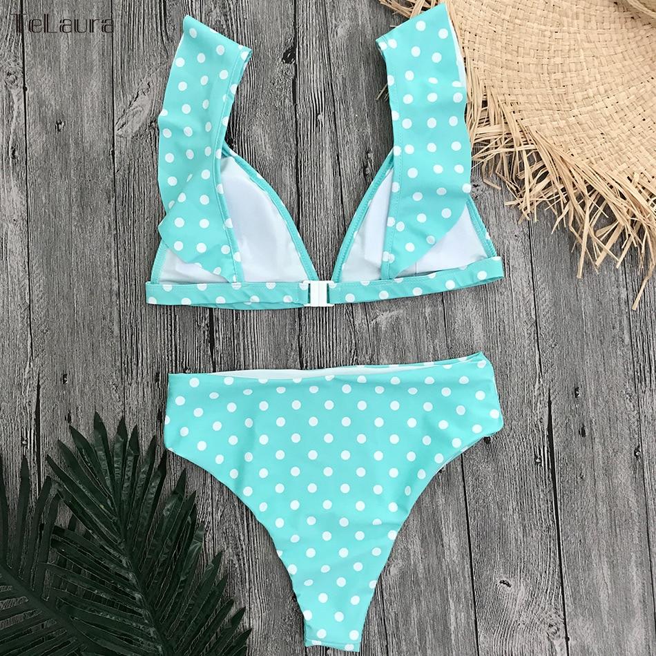 2019 Sexy High Waist Bikini Women Swimwear Push Up Swimsuit Ruffle Bathing Suit Polka Dot Biquinis Summer Beach Wear Female