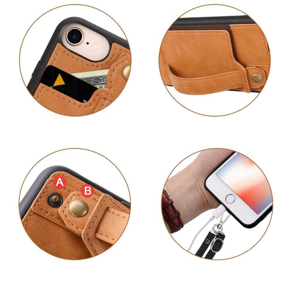 """Jisoncase Ledertasche Für iPhone 8 4,7 """"Mit Karte Slot und Lanyard Design Vintage Luxuriöse Mode Telefon Fällen Brieftasche fall"""