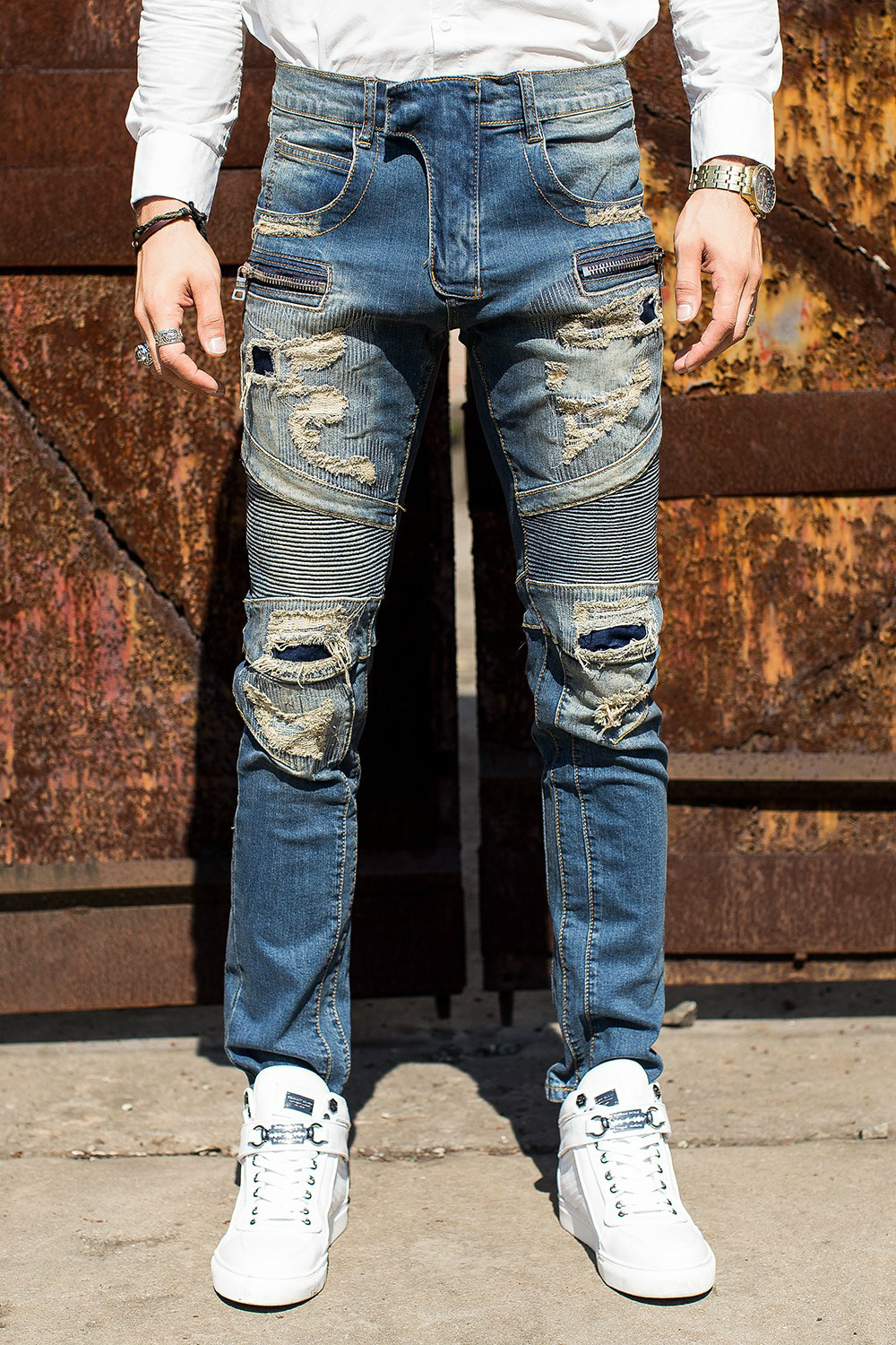 Free Shipping High Quality Biker Jeans Mens Slim Elastic Skinny Straight Men Jeans Ripped Patch Design